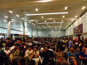 Stranded travellers at the Goa airport