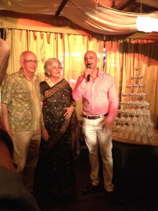 Rajeev Samant with his parents at the anniversary party