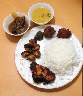 A typical Oriya home-cooked meal