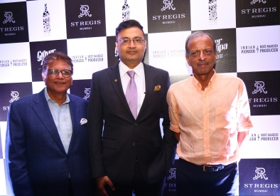 Ravi Jain, Director, Grover Zampa Vineyards, and Kapil Grover, Chairman, along with Anuraag Bhatnagar, Multi-Property Vice President, Luxury, India, Marriott International